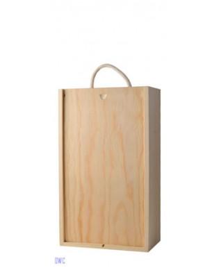 2 Bottle Wooden Box - Sliding Lid