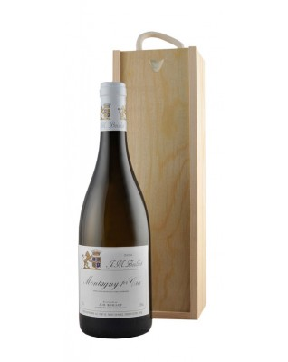 White Burgundy in Wooden Box with Sliding Lid